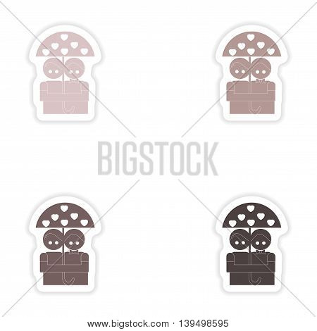 Set of paper stickers on white background  lovers under umbrella