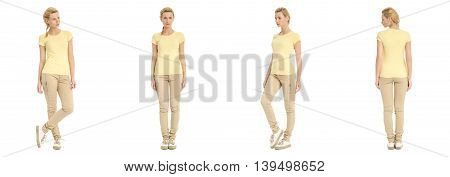 Portrait Of Young Slim Woman In Beige Pants Posing Isolated On White