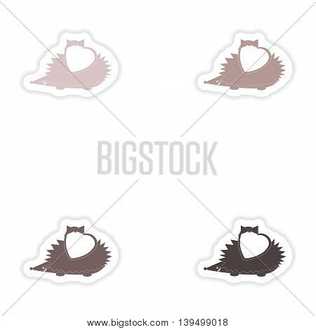 Set of paper stickers on white background  hedgehog heart