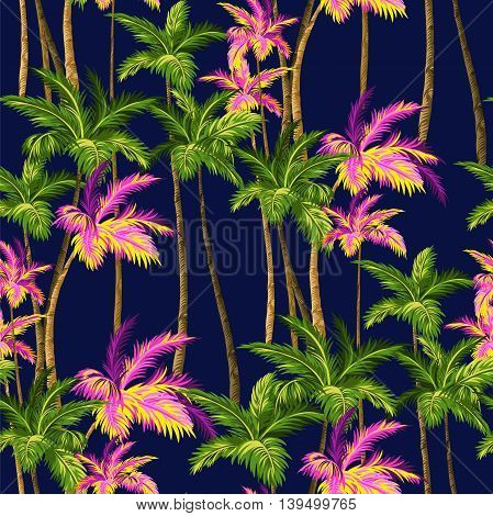 vintage vector plams, hawaii shirt seamless pattern.