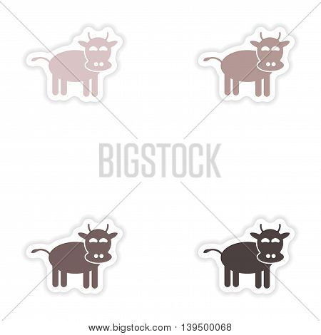 Set of paper stickers on white background   cow cartoon