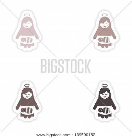 Set paper stickers on white background   Virgin Mary newborn Jesus