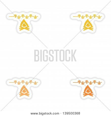 Set of paper stickers on white background  mushrooms fire