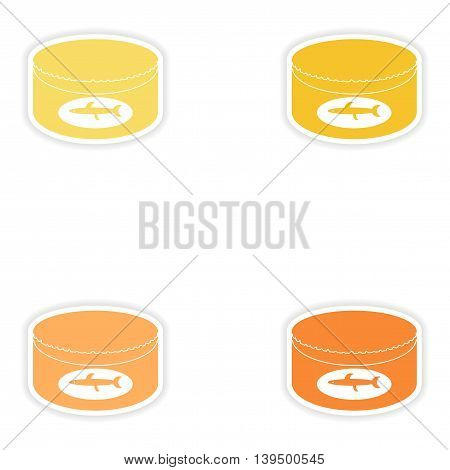 Set of paper stickers on white background   Canned fish