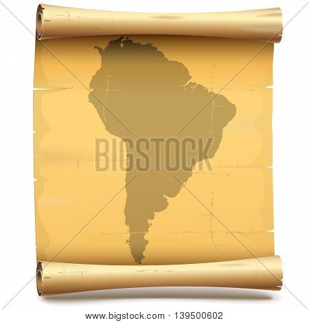 Vector Paper Scroll with South America isolated on white background