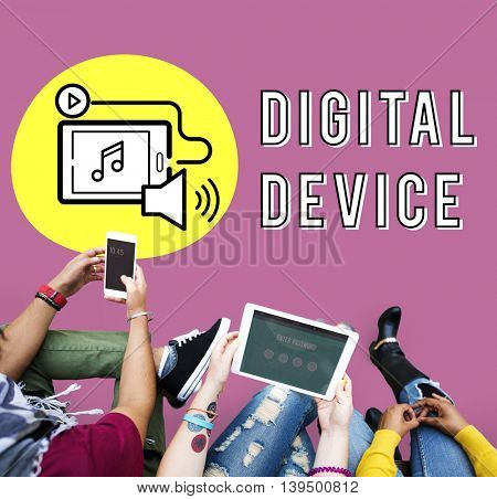 Podcast Digital Device Social Media Concept