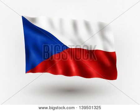Illustration of waving flag of Czech Republic isolated flag icon vector EPS 10 contains transparency.