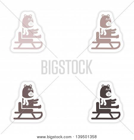 Set of paper stickers on white background  Bear on sledge