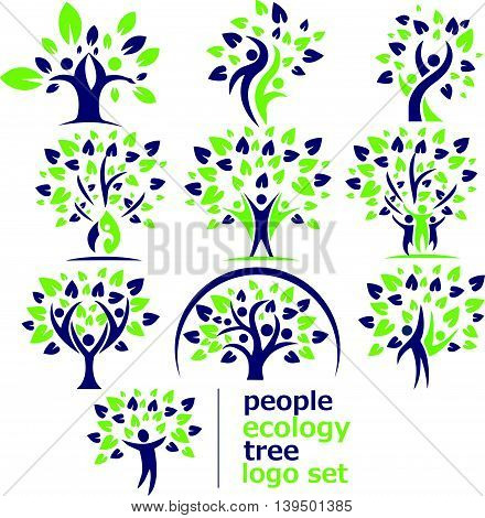people ecology logo set concept designed in a simple way so it can be use for multiple proposes like logo ,mark ,symbol or icon.