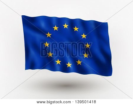 Illustration of waving flag of European Union isolated flag icon EPS 10 contains transparency.