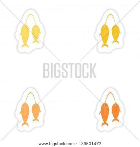 Set of paper stickers on white background  fresh fish