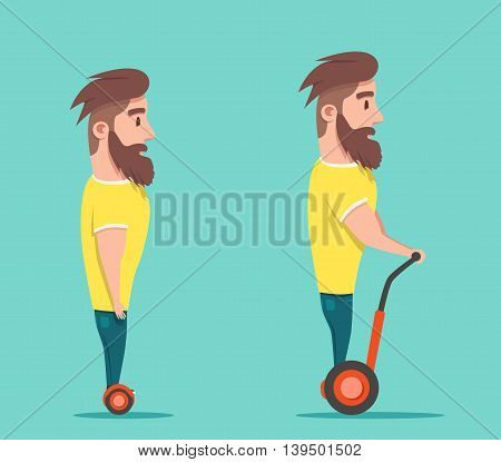 Man on hoverboard. Cartoon vector illustration. Human on Gyroscooter. Trend
