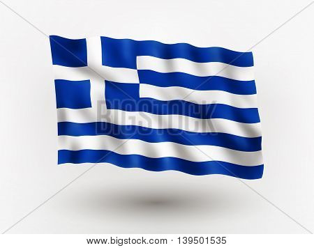 Illustration of waving flag of Greece isolated flag icon EPS 10 contains transparency.