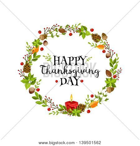 Colorful cartoon poster for thanksgiving day. Happy thanksgiving wreath. Vector illustration