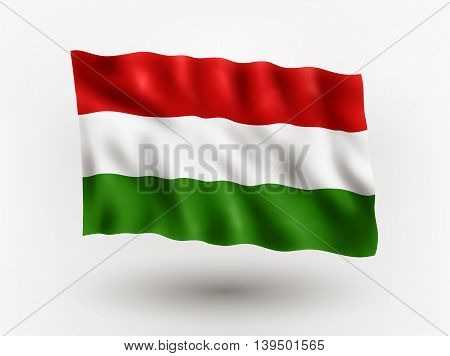 Illustration of waving flag of Hungary isolated flag icon EPS 10 contains transparency.