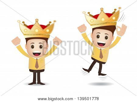 A successful businessman marketing with crown on his head