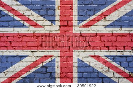 Flag of United Kingdom painted on brick wall background texture
