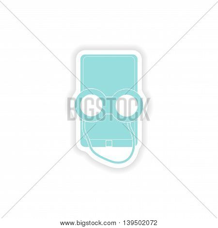 paper sticker on white background  mobile phone binoculars