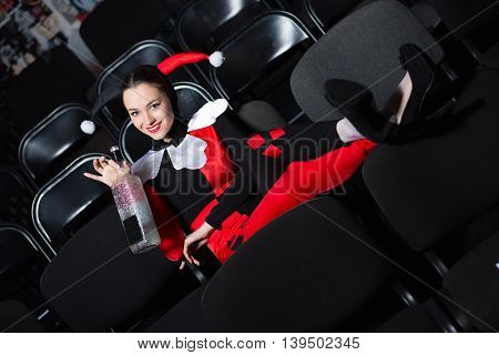 Playful Woman Wearing Jester