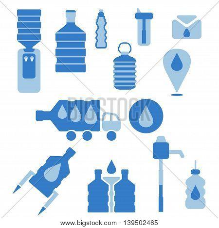 Set of icons for theme bottled water flat design. Vector illustration