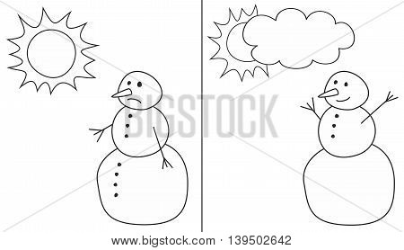 Happy and sad snowman vector illustrations isolated on white background for kids coloring book