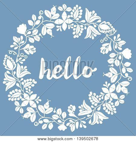 Hello pastel laurel vector wreath white frame on pastel blue background