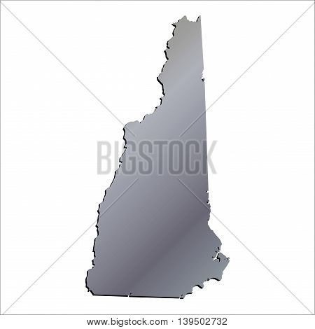 3D New Hampshire State USA Aluminium outline map
