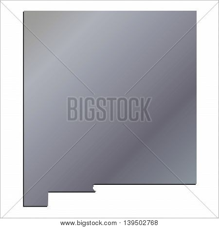 3D New Mexico State USA Aluminium outline map