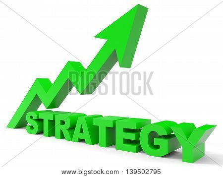 Graph up strategy arrow on white background. 3D illustration.