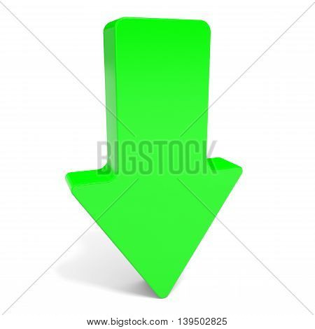 Green arrow down on white background. 3D illustration.
