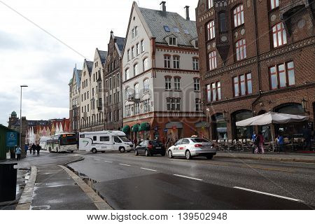 BERGEN, NORWAY - JULY 2, 2016: These are old historic buildings at the beginning of Bryggen.