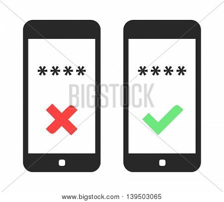 Smart Phone Login. Vector Illustration Of Smart Phone With Access Denied And Access Successful Signs