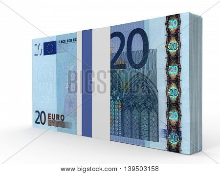 Pack Of Banknotes. Twenty Euros.
