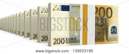 Stacks Of Money. Two Hundred Euros.