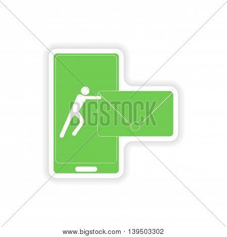 paper sticker on white background  sending sms