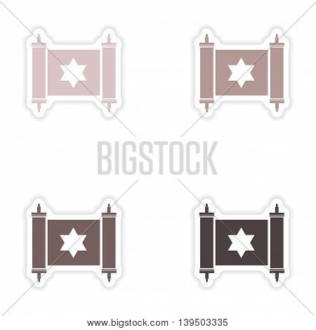 Set of paper stickers on white background   scroll Torah