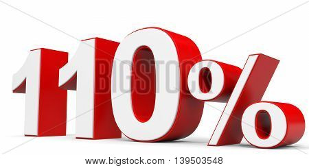 Discount 110 percent on white background. 3D illustration.