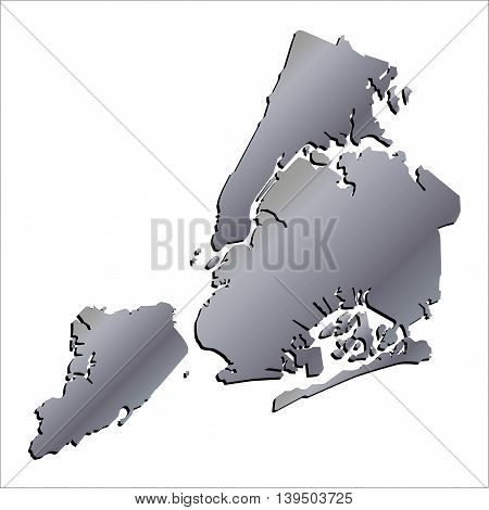 3D New York (USA) Aluminium outline map with shadow