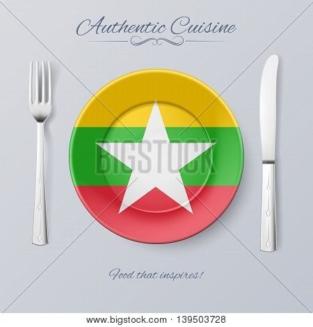 Authentic Cuisine of Myanmar. Plate with Flag and Cutlery