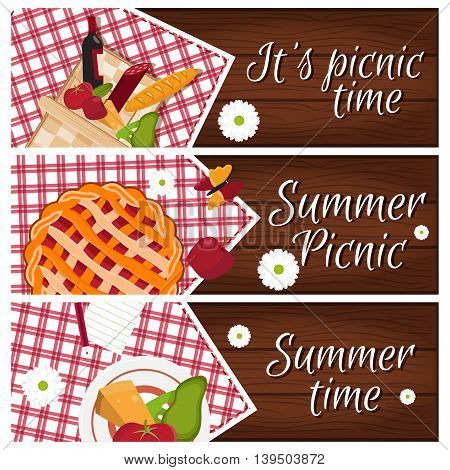 Set Of Banners With Wooden Desk With Picnic Basket For Summer Time Theme .vector Illustration