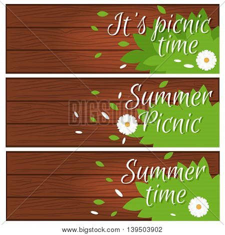 Set of banners with wooden desk with grass and flower for summer time theme .Vector illustration
