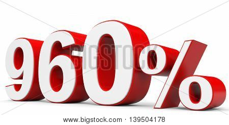 Discount 960 percent off on white background. 3D illustration.