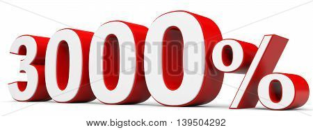 Discount 3000 percent off on white background. 3D illustration.