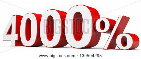 Discount 4000 percent off on white background. 3D illustration.