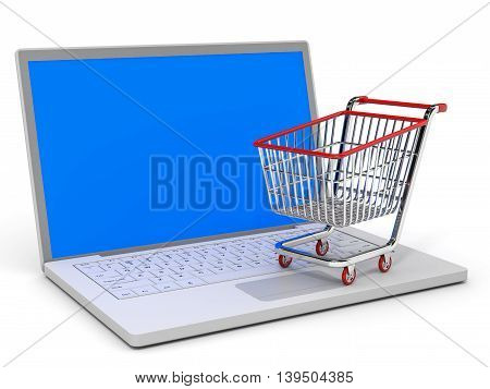 Shopping Cart And Laptop.
