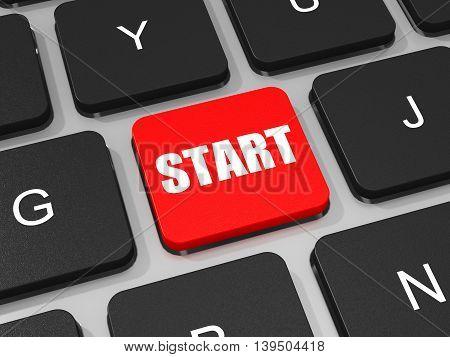 Start Key On Keyboard Of Laptop Computer.