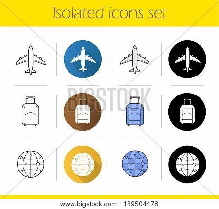 Air travel icons set. Flat design, linear, black and color styles. Travelling by plane, luggage bag on wheels, worldwide globe symbol. Isolated vector illustrations