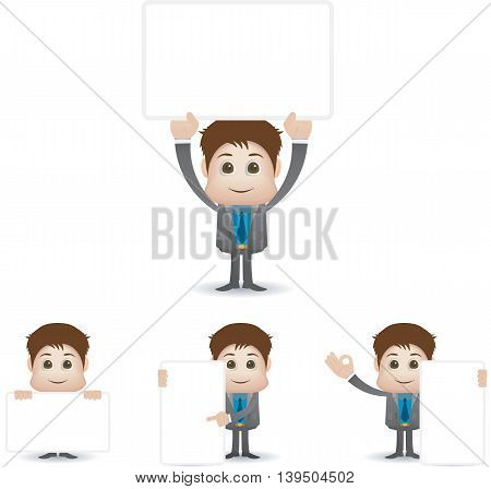 working people character with blank banner for text