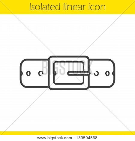 Leather belt linear icon. Thin line illustration. Contour symbol. Vector isolated outline drawing