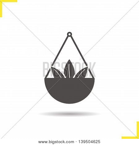 Loose tea leaves icon. Drop shadow silhouette symbol. Tea leaves in scalepan. Vector isolated illustration